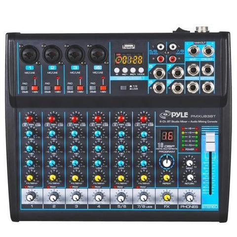 Pyle Pmxu83Bt 8-Ch. Bluetooth Studio Mixer - Dj Controller Audio Mixing Console System