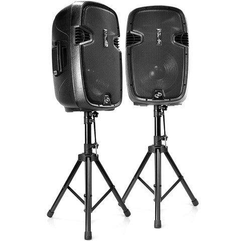 "PYLE PPHP1049KT 10"" Active + Passive PA Speaker System Kit with Stands and Microphone"