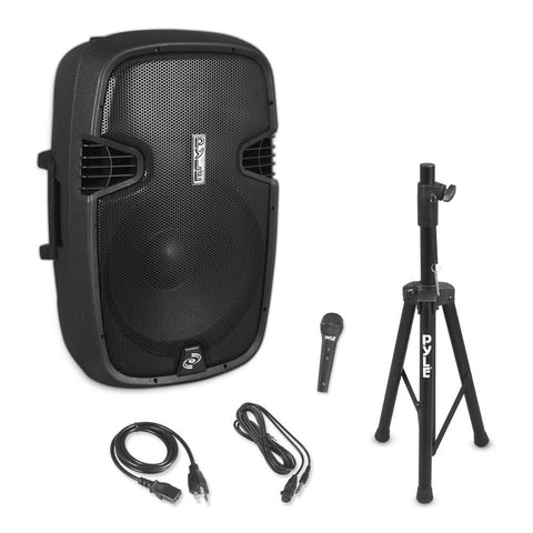 "PYLE (PPHP155ST) 15"" Active Powered Wireless Music PA Speaker System, 1500 Watt - Includes Speaker Stand &  Wired Microphone"