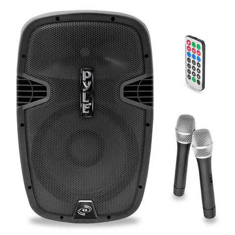 PylePro PPHP159WMU 15'' 1600 Watt Bluetooth Music Streaming Portable Loudspeaker System - Built-in Rechargeable Battery, 2 Wireless Mics