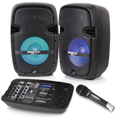 "PYLE PPHP210AMX 600 Watt Dual 10"" PA Speaker Bundle w/ Mixer, Mic and Stands"