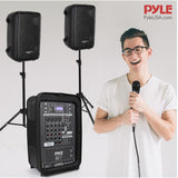 PYLE PPHP28AMX Speaker and Mixer Bundle Kit with Stands and Microphone