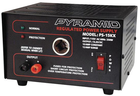 Pyramid (Ps15K) 10 Amp Power Supply W/cigarette Lighter Plug - Output: 13.8V Dc
