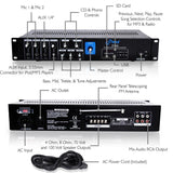 Pyle Pt330U 150 Watt Pa Amplifier With 70V Output & Mic Talkover Usb/micro Sd Card Readers Aux Input