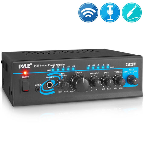PYLE PTA4 Compact Wireless BT 2-Channel Mini Stereo Power Amplifier