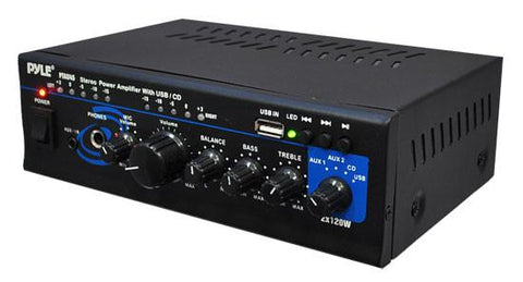 Pylehome Ptau45 Stereo Power Amplifier - 2 X 120 Watt With Usb Aux Cd & Mic Inputs Mini