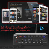 Pyle PTAUWIFI46 Compact WiFi Amplifier Receiver, Wireless Music Streaming Amp System with Mic Paging/Mixing