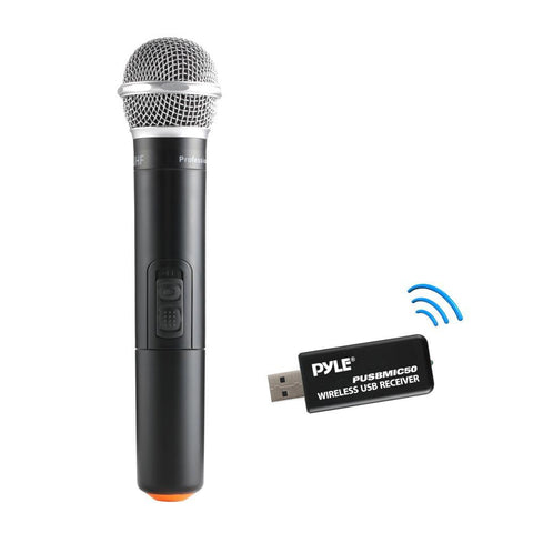 Pyle Pusbmic50 Wireless Microphone & Usb Receiver Handheld Dynamic Uhf Mic System