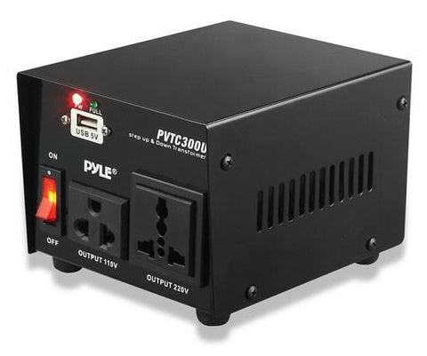 Pyle (PVTC300U) 300 Watt Step Up and Step Down Voltage Converter Transformer with USB Charging Port - AC 110/220 V - expert island