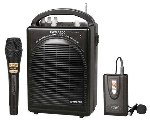 Pyle Pwma200 Rechargeable Portable Pa System With Wireless Lavalier/headset Mic And 1 Wired Mic