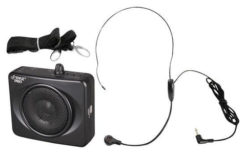 Pyle Pwma60 Portable 50 Watt Usb Waist-Band Pa System W/headset Mic Rechargeable Battery Black