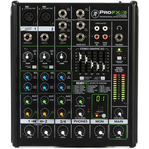 Mackie Profx4V2 Professional 4-Channel Effects Mixer Audio