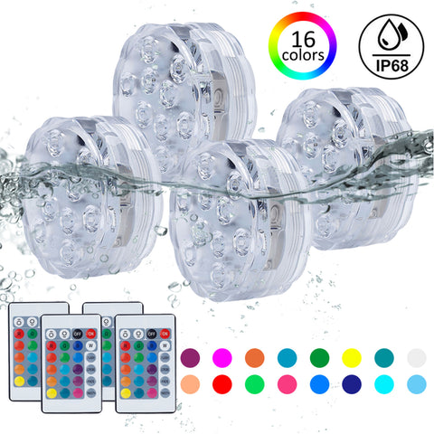 10 LED Submersible Vase Base Light - 16 Colours with Remote - 4 Pack