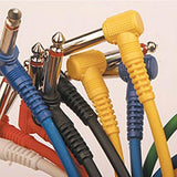 "6-Pack of Color 1ft 1/4"" to 1/4"" TS Right-Angle Effects Pedal Patch Cables in 1ft, 2Ft and 3ft - expert island"