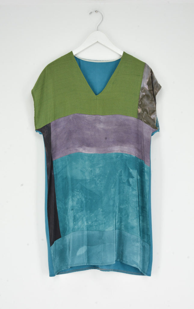 PURPLE/TEAL/GREEN BORO V NECK DRESS