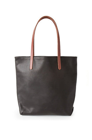 Black Leather Tote Bag / Brown Straps