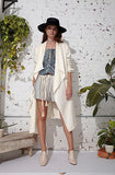 CRINKLE LINEN HEMP CANVAS DRAPED TRENCH