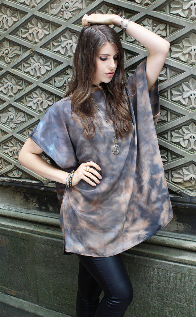 BROWN/GREY SILK TUNIC