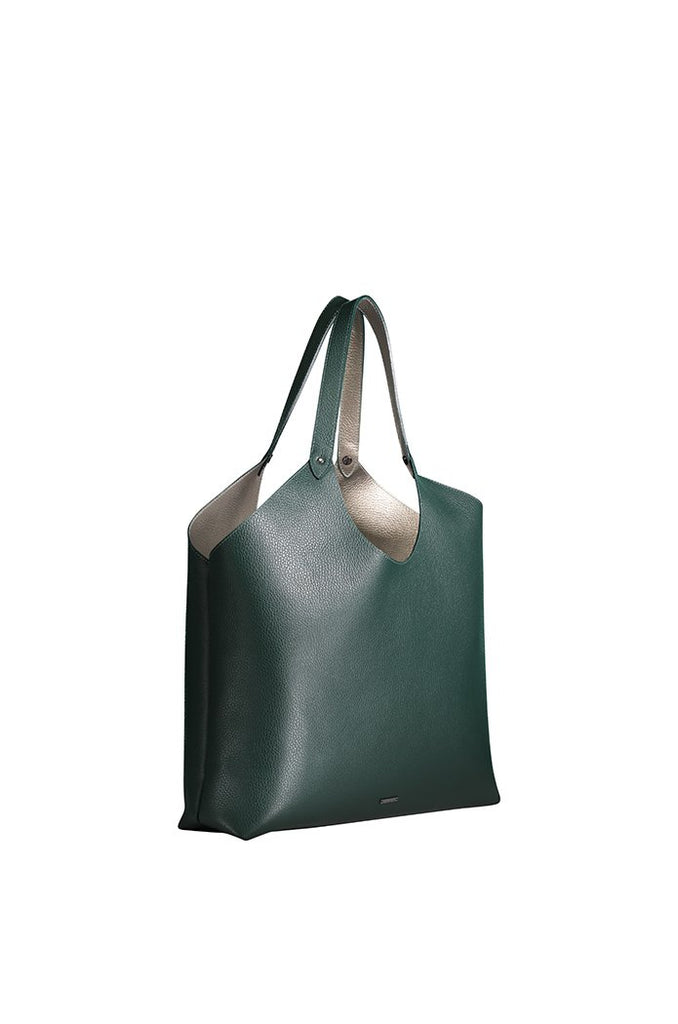 HUNTER/PEWTER REVERSIBLE TRIANGLE TOP TOTE