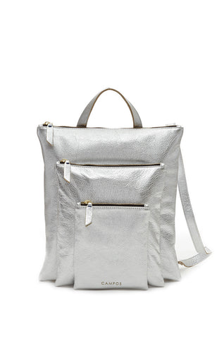 Silver Metallic Backpack Leather