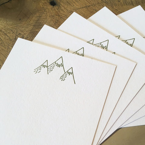 Mountains Letterpress Notecards - Set of 6