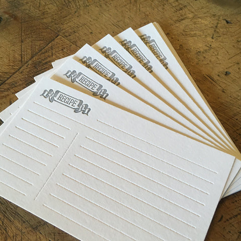 "Letterpress Recipe Cards - 3""x5"""