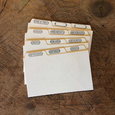 "Letterpress Recipe Card Dividers - 3""x5"" -  Set of 12 - Manila"