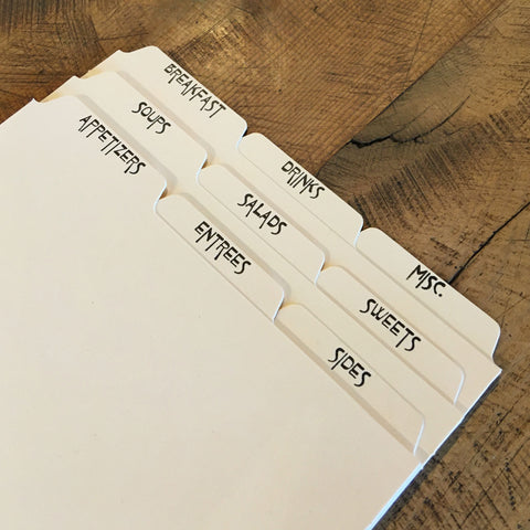 "Letterpress Recipe Card Dividers - 4""x6"" -  Set of 9"