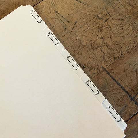 Letterpress Recipe Card Dividers - 3-Ring Binder - Manila