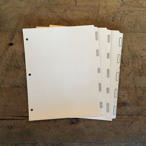 3-Ring Binder Letterpress Recipe Card Dividers