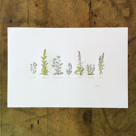 "A Few Wildflowers Letterpress Print - 12"" x 18"""