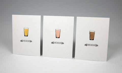 "Drink Good Beer Letterpress and Watercolour Print - 5"" x 7"""