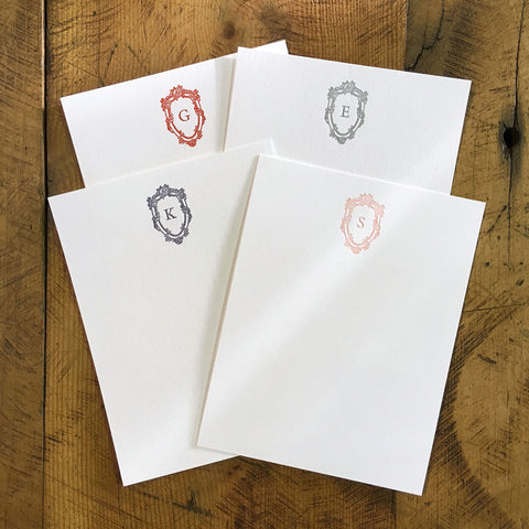 Custom Letterpress Notecards - Bembo & Roses Monogram