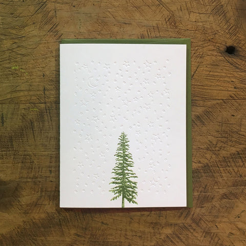 Conifer Tree Letterpress Holiday Cards - Stars & Snow
