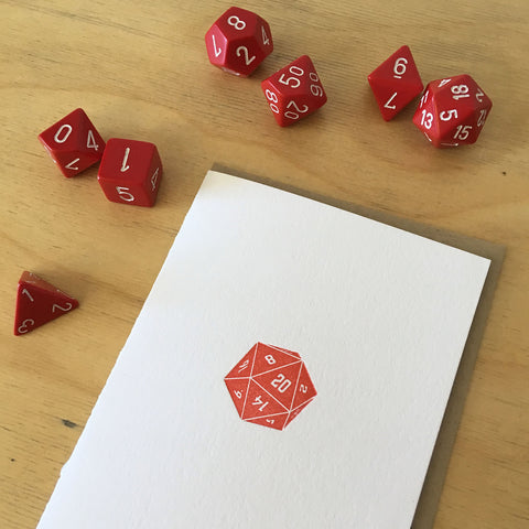 D20 Dice Letterpress Card - Red