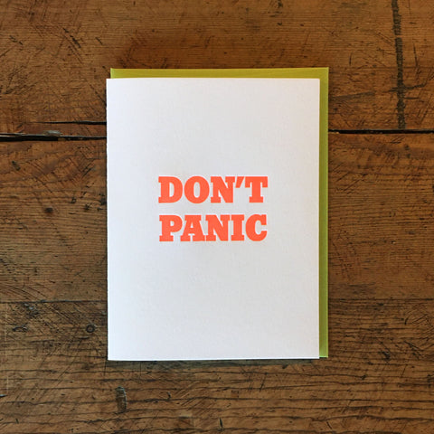 Don't Panic Letterpress Card