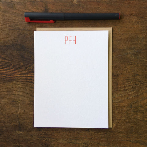 Custom Letterpress Notecards - Huxley Vertical