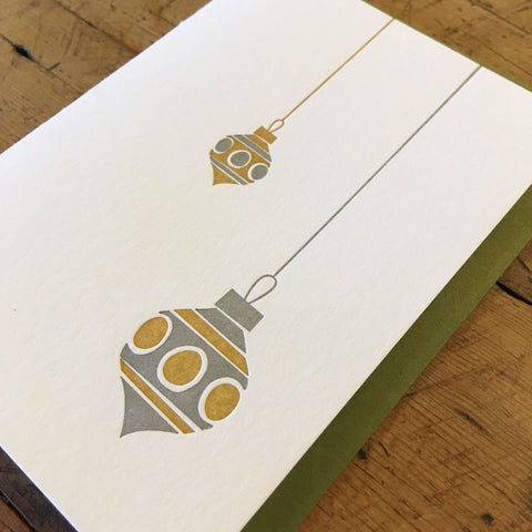 Mid-Century Modern Ornaments Holiday Letterpress Cards