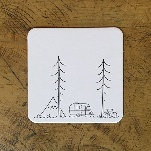 Minimal Adventure Letterpress Coasters - Set of 6