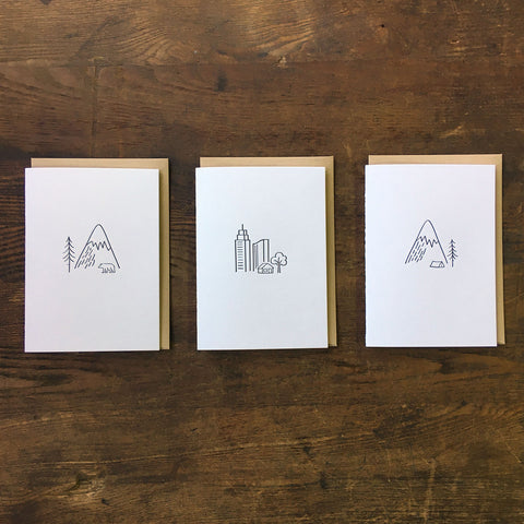 Minimal Adventure Letterpress Cards
