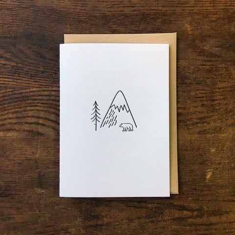 Bear in the Wild Minimal Adventure Letterpress Card
