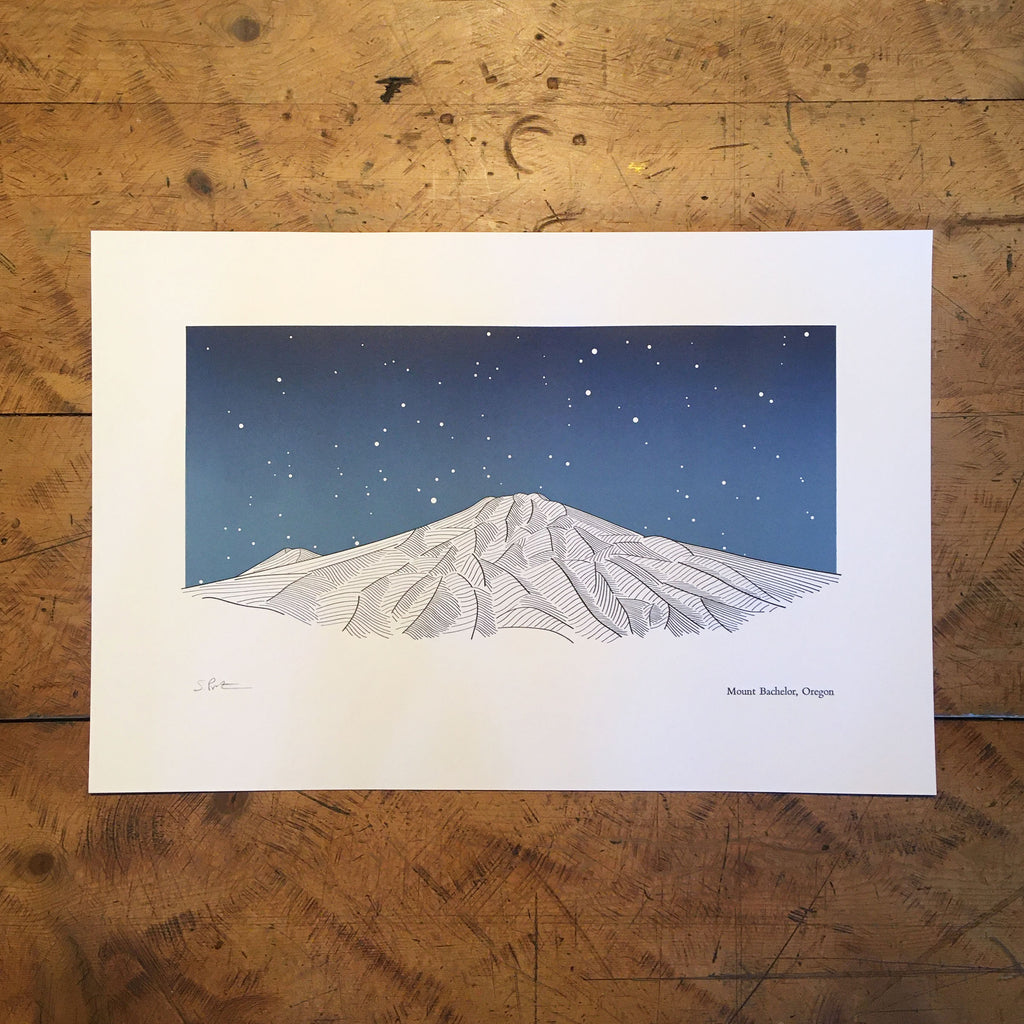 "Mount Bachelor Oregon Letterpress Print - 12"" x 18"""