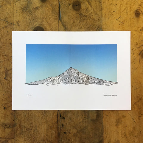 "Mount Hood Oregon Letterpress Print - 12"" x 18"""