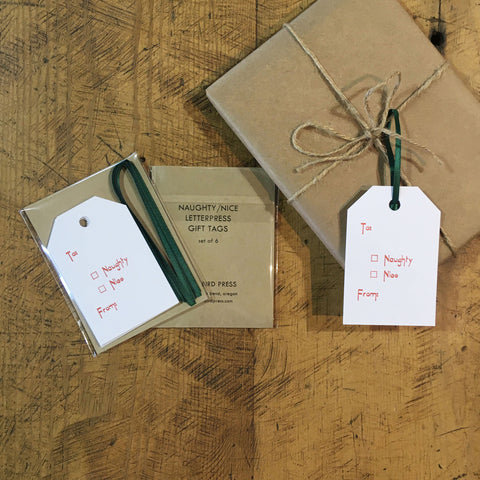 Naughty/Nice Letterpress Gift Tags - Set of 6