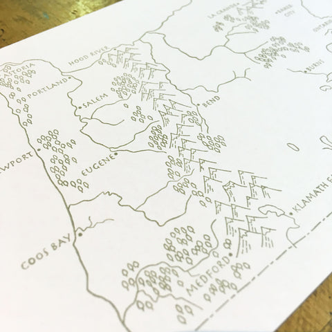 Oregon State Map Letterpress Postcard
