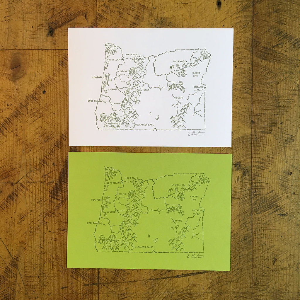 Oregon State Illustrated Map Letterpress Print - 5