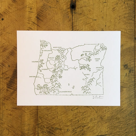 "Oregon State Illustrated Map Letterpress Print - 5"" x 7"""
