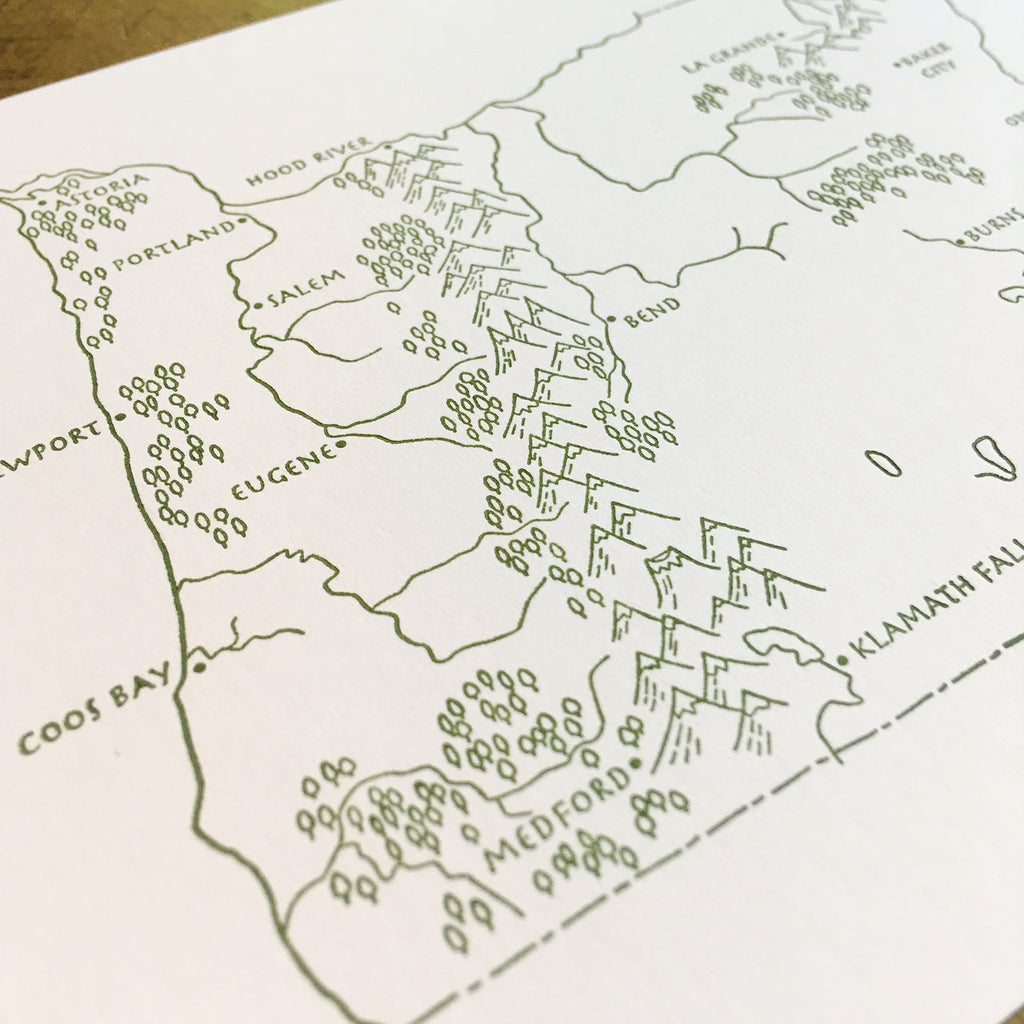 picture relating to Printable Map of Oregon named Oregon Country Illustrated Map Letterpress Print - 5\