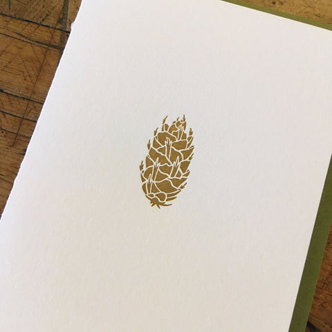 Douglas-fir Pine Cone Holiday Letterpress Cards