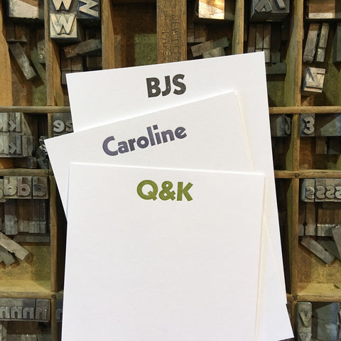 Custom Letterpress Notecards - San Serif